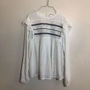 H&M Cottage Core Lace Peasant Blouse White Sz 10